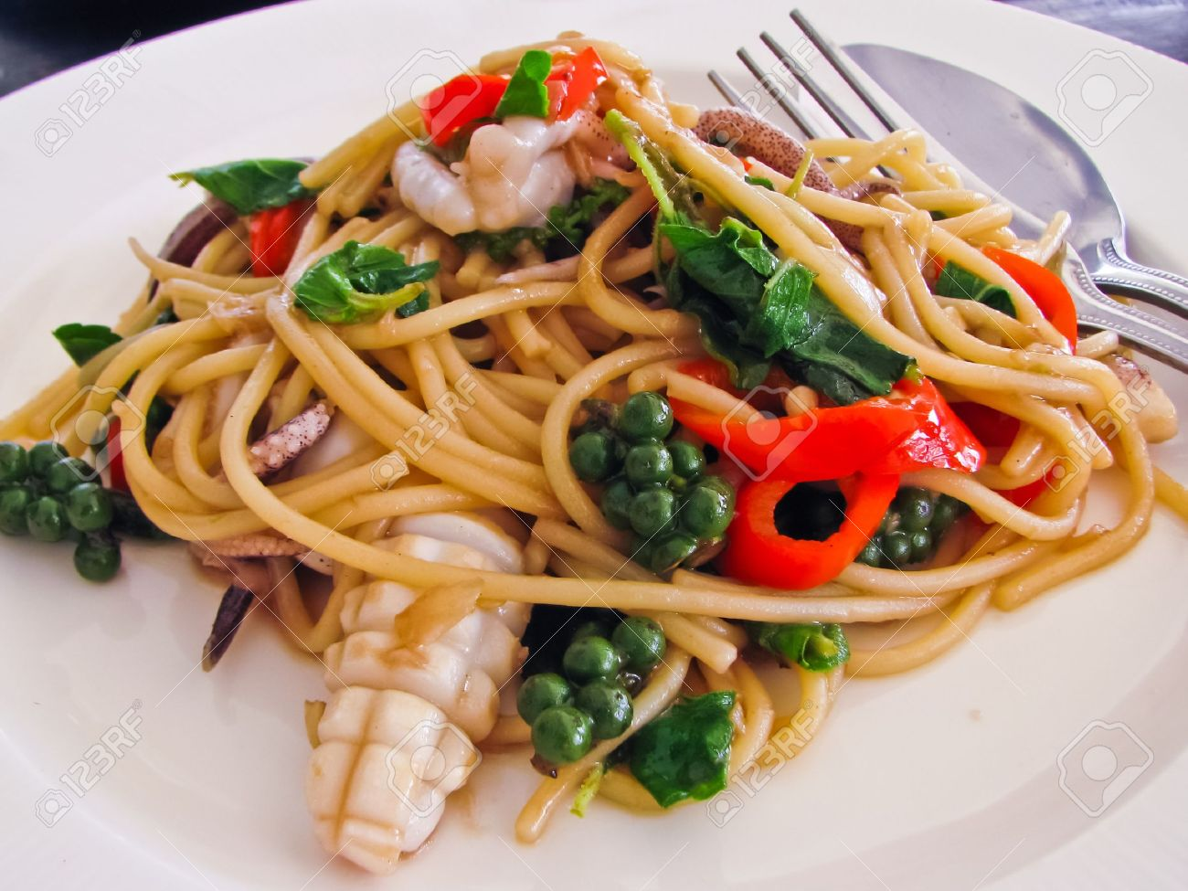 Thai syle pasta with squid and spicy Stock Photo - 9845890