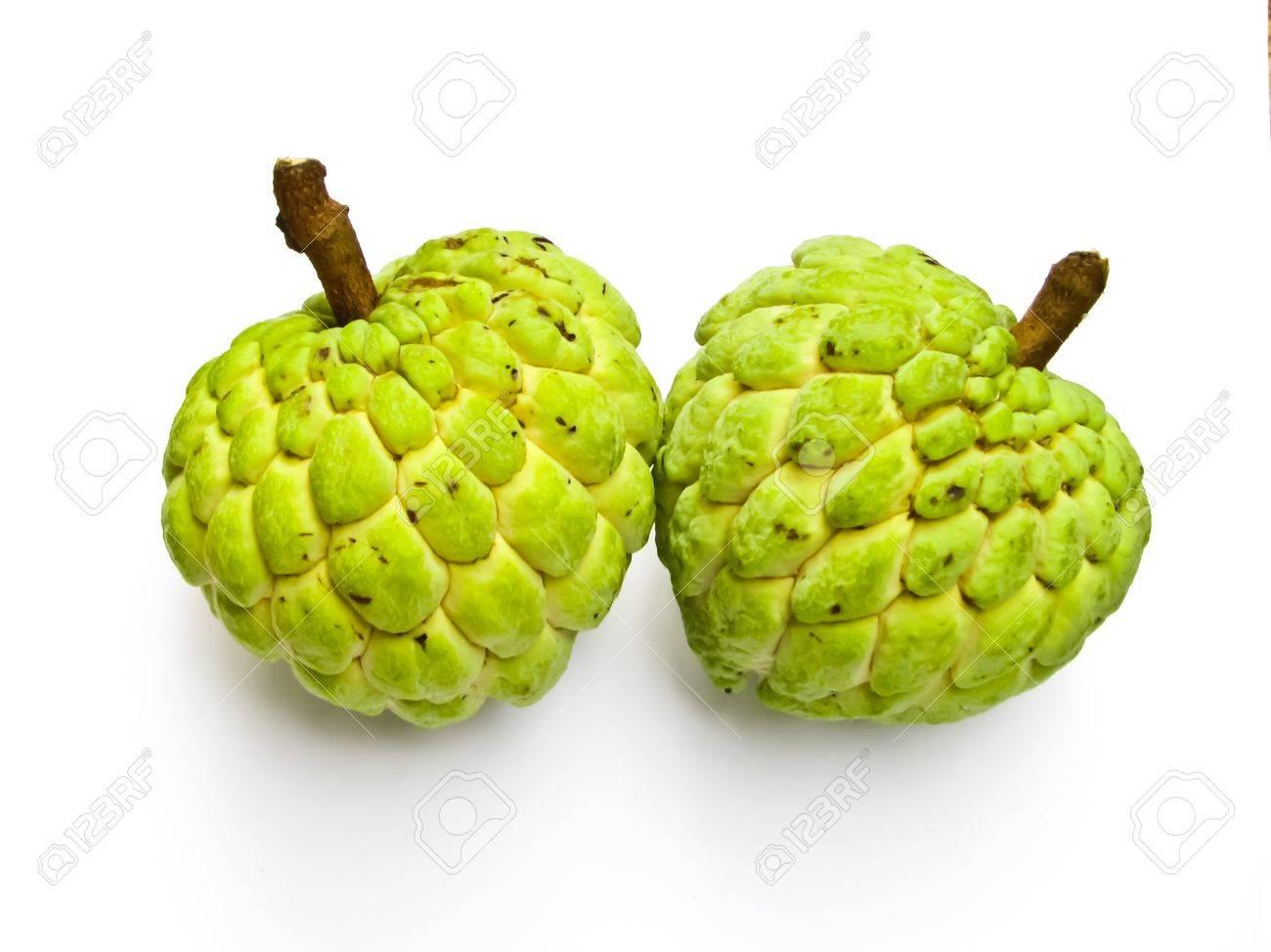 two custard-apples on white background Stock Photo - 10018770