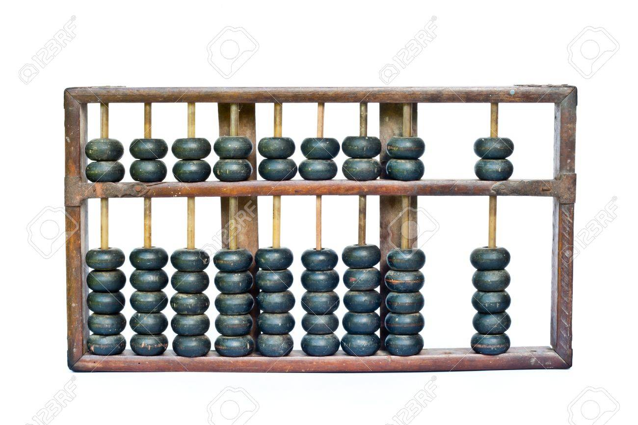 old wooden abacus on white background Stock Photo - 10495192