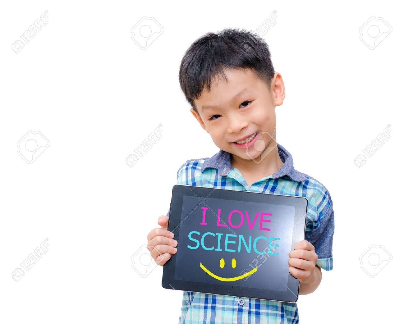 Little asian boy holding tablet computer with word  I love Science  on screen Stock Photo - 29389542