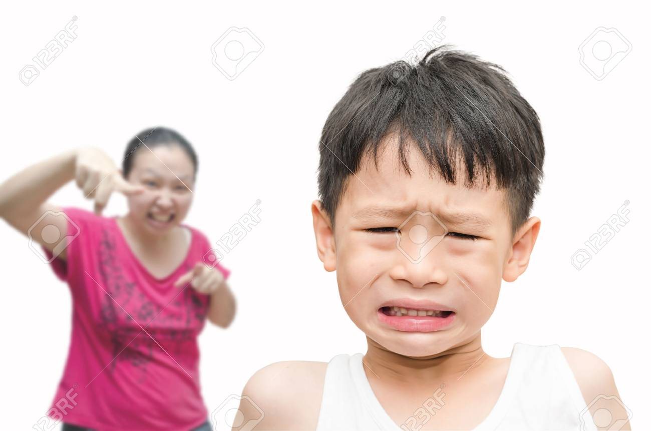 Young Asian Boy Being Scolded by his mother Stock Photo - 30136313