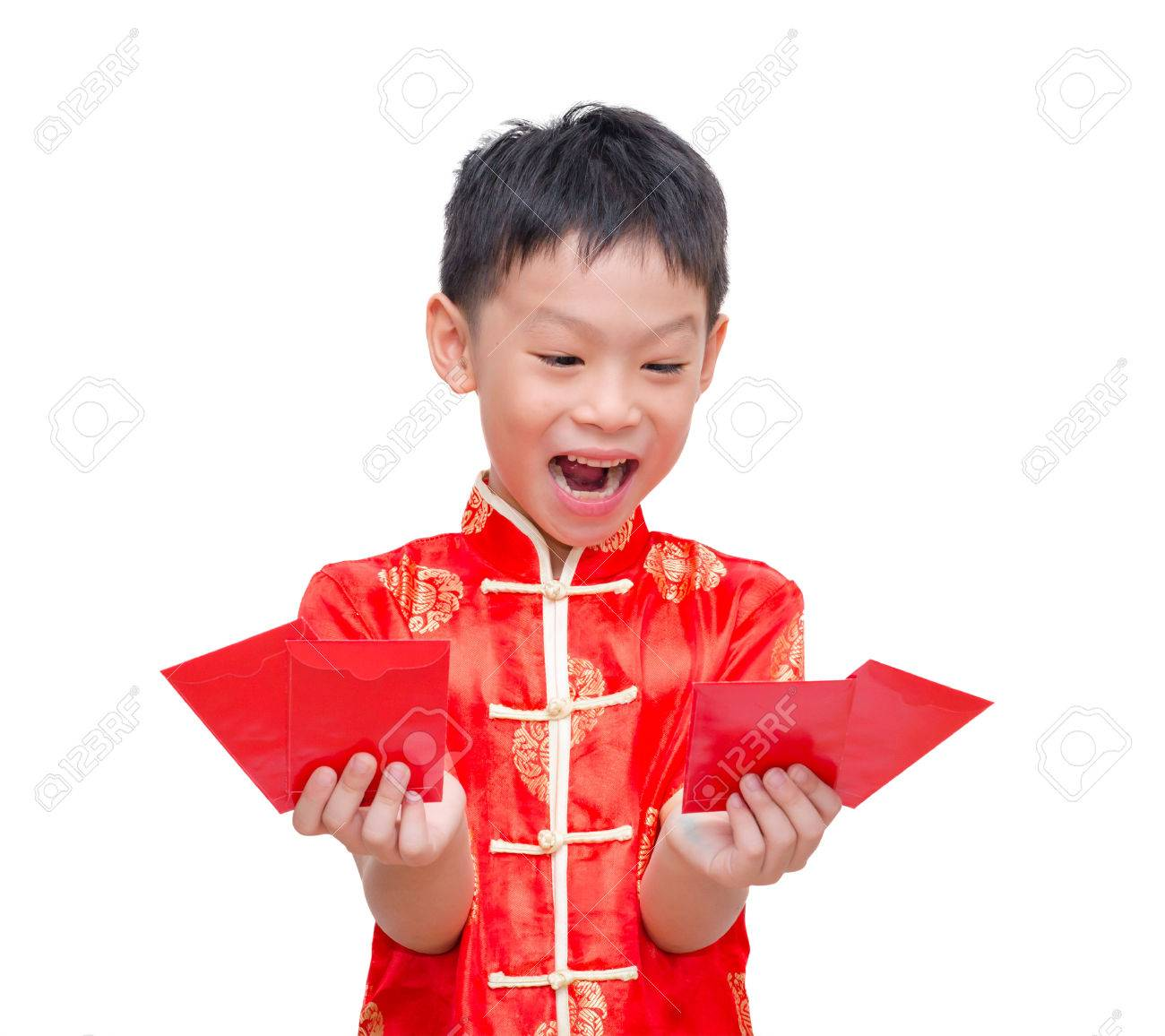 Dress up chinese - Asian Boy In Traditional Chinese Dress With Red Envelopes On White Background Chinese New Year