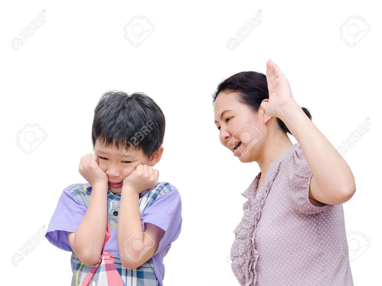 Mother Being Physically Abusive Towards Son Over White Background Stock Photo - 36232931