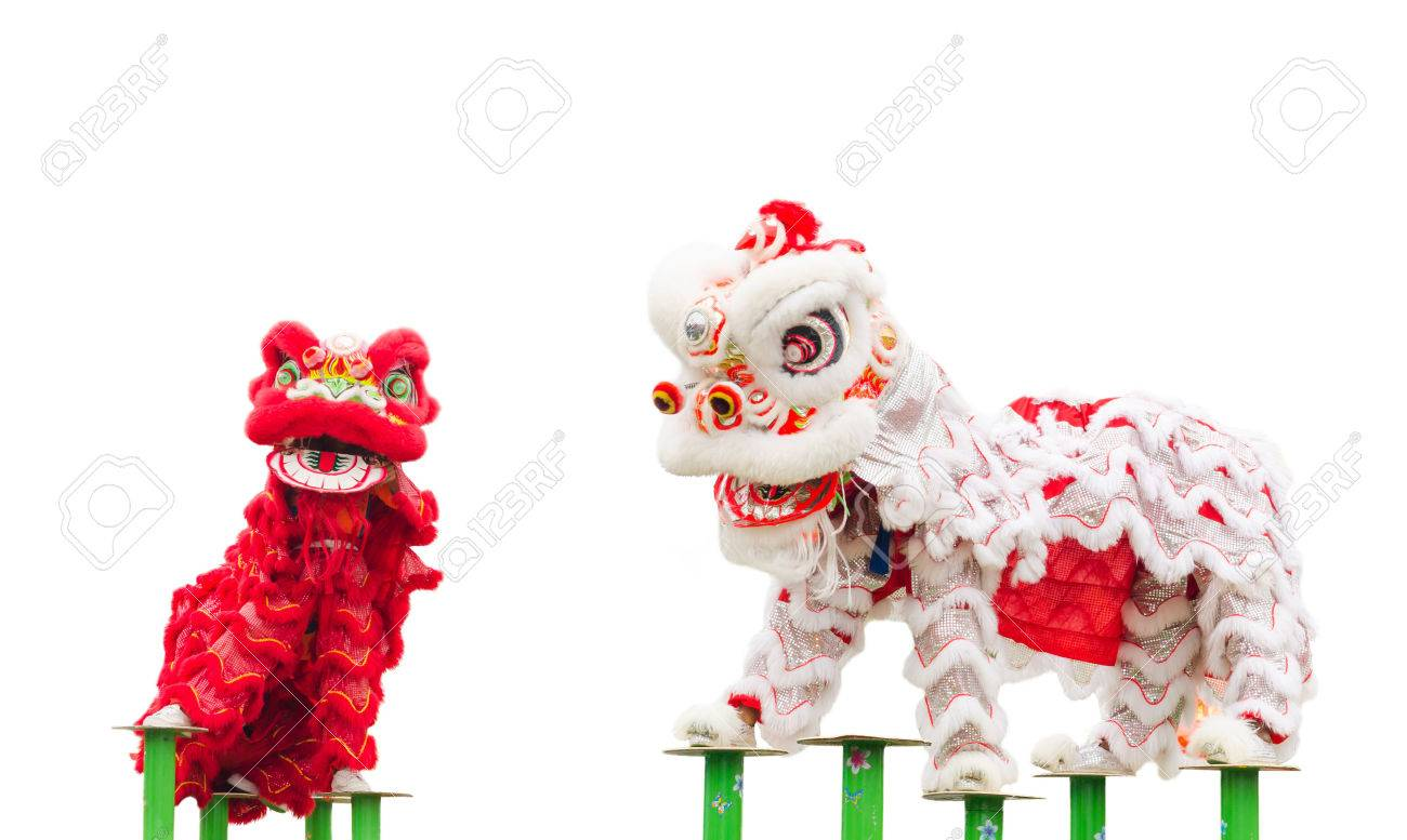 Chinese lion costume dance during Chinese New Year celebration Stock Photo - 36232954