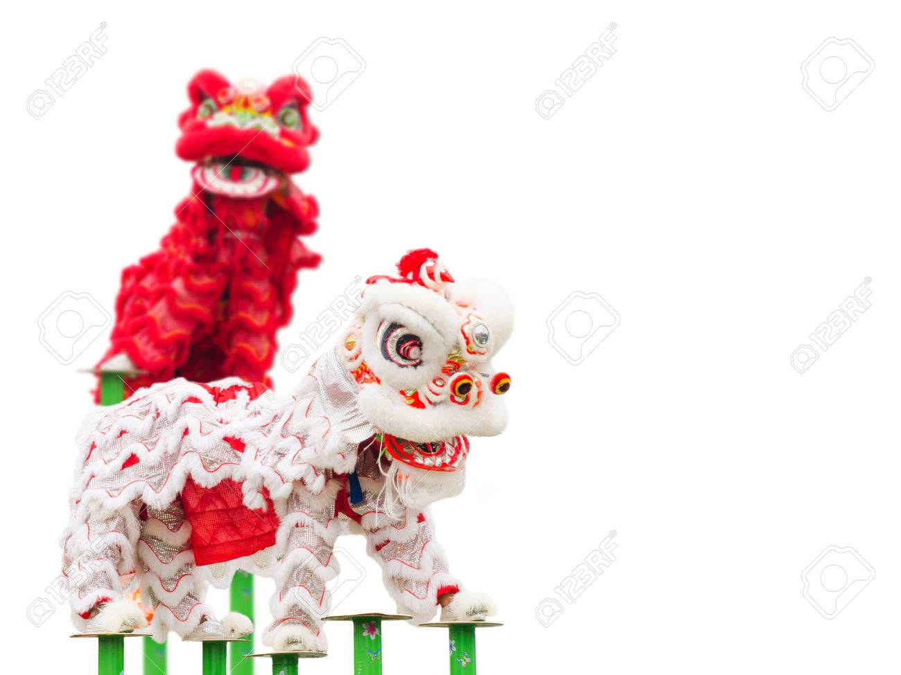 Chinese lion costume dance during Chinese New Year celebration Stock Photo - 36231971