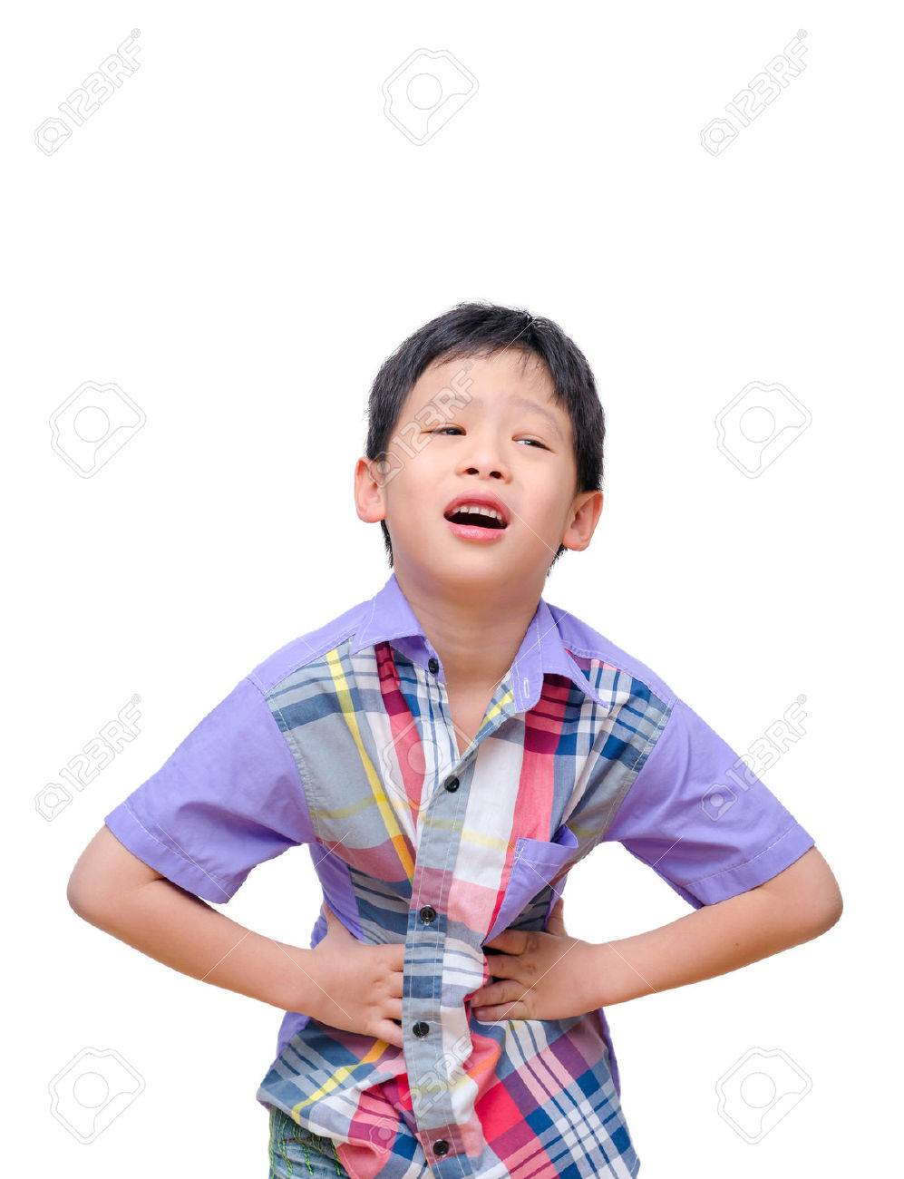 Little boy with stomachache isolated on white background Stock Photo - 36233224