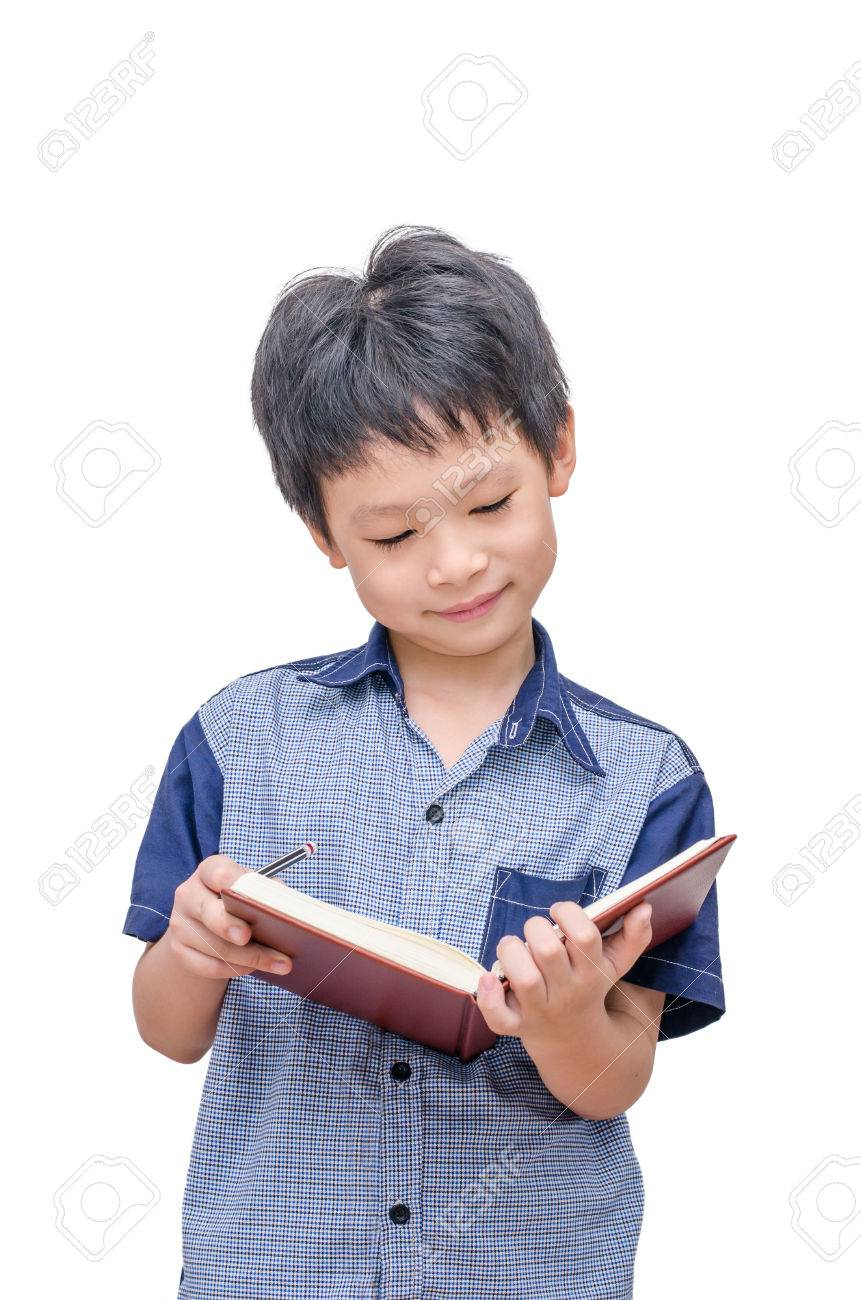 Happy Asian boy reading a book over white background Stock Photo - 36375348