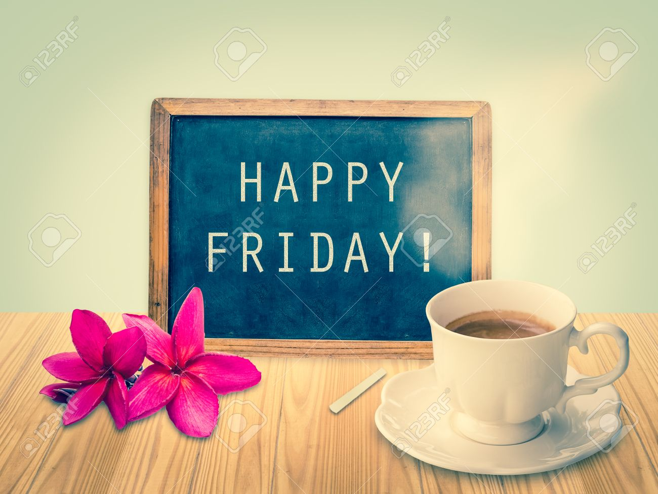 Happy Friday on chalkboard with vintage filter Stock Photo - 36913468