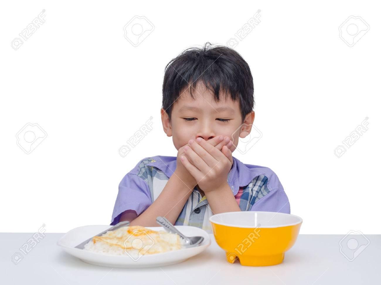 Asiatisches Kind, Den Mund Mit Der Hand Zwischen Dem Mittagessen ...