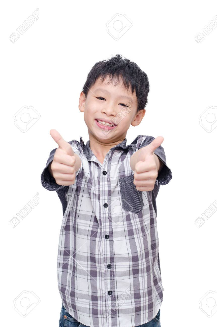 Asian boy smile and showing thumbs up over white background Stock Photo -  47253034