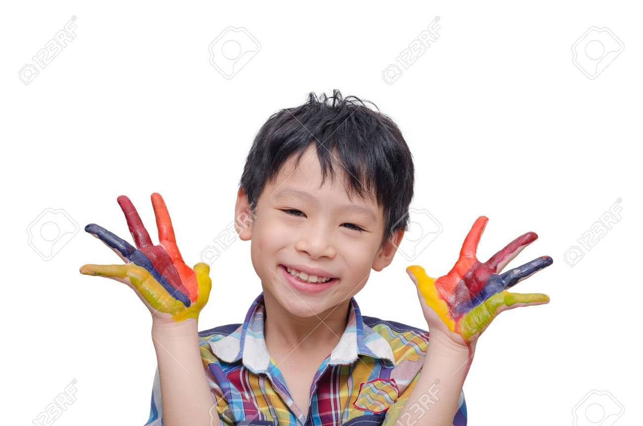 Little Asian boy with painted hands over white background Stock Photo - 48010183
