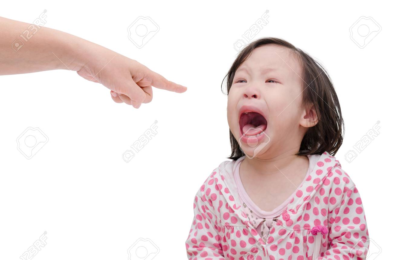 Asian baby crying while mother scolding on white background - 53135577