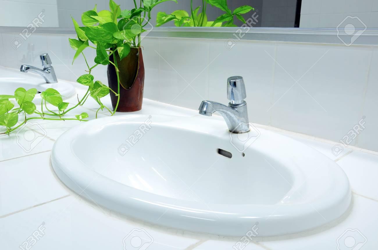 Handbasin and vase in toilet Stock Photo - 8793699