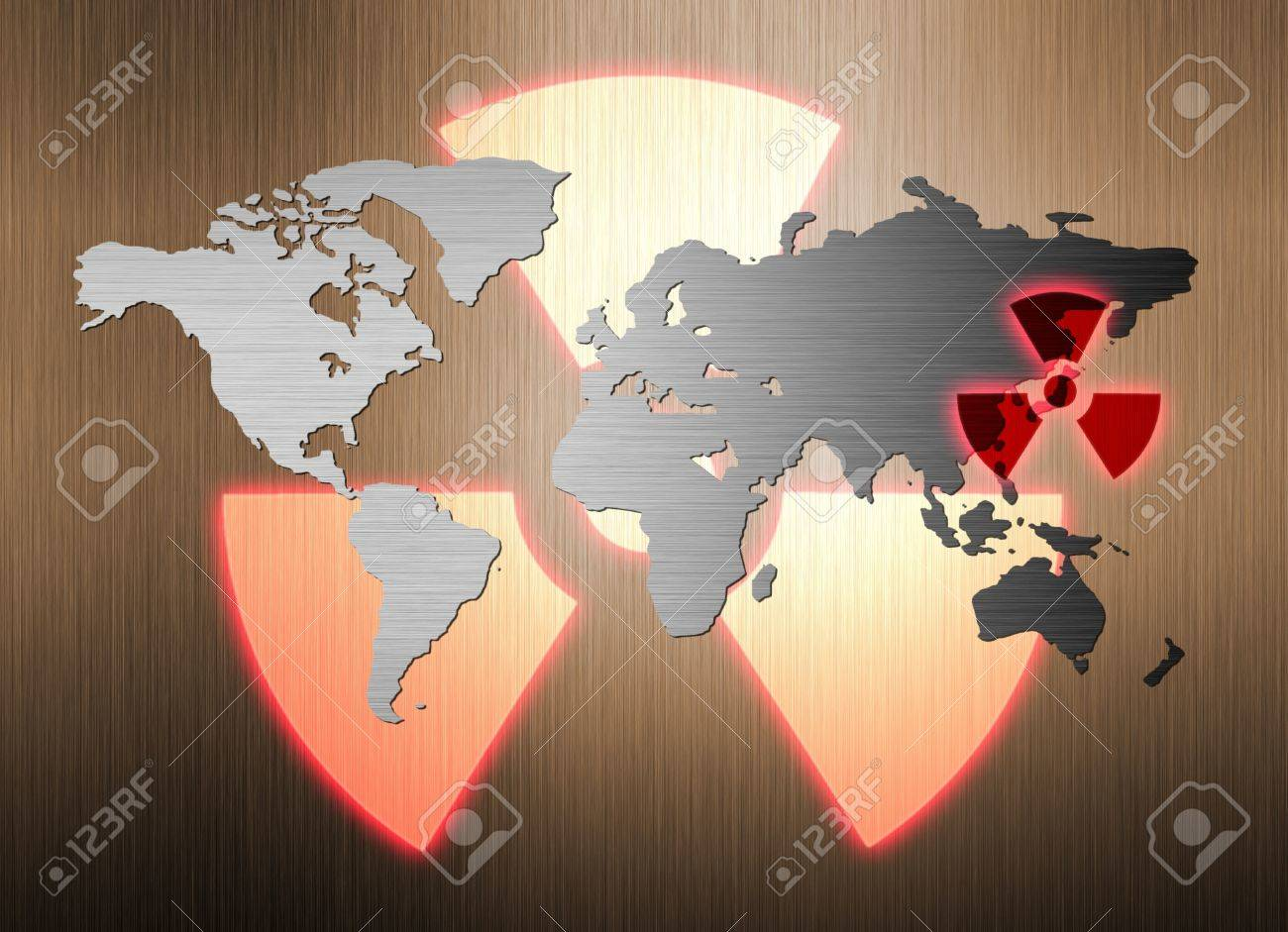 metal world map and nuclear radiation leak Stock Photo - 9132201