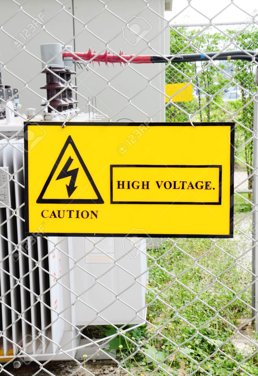 warning sign high voltage power Stock Photo - 9170812