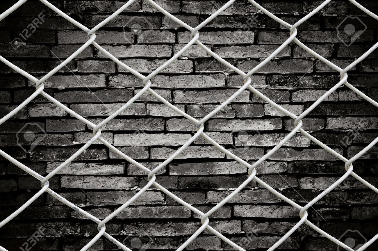Chain link fence see grunge wall background Stock Photo - 9263069