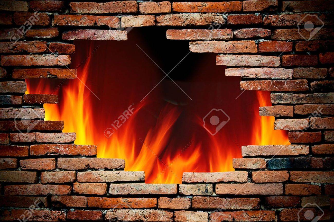 hole wall and fire Stock Photo - 9631237
