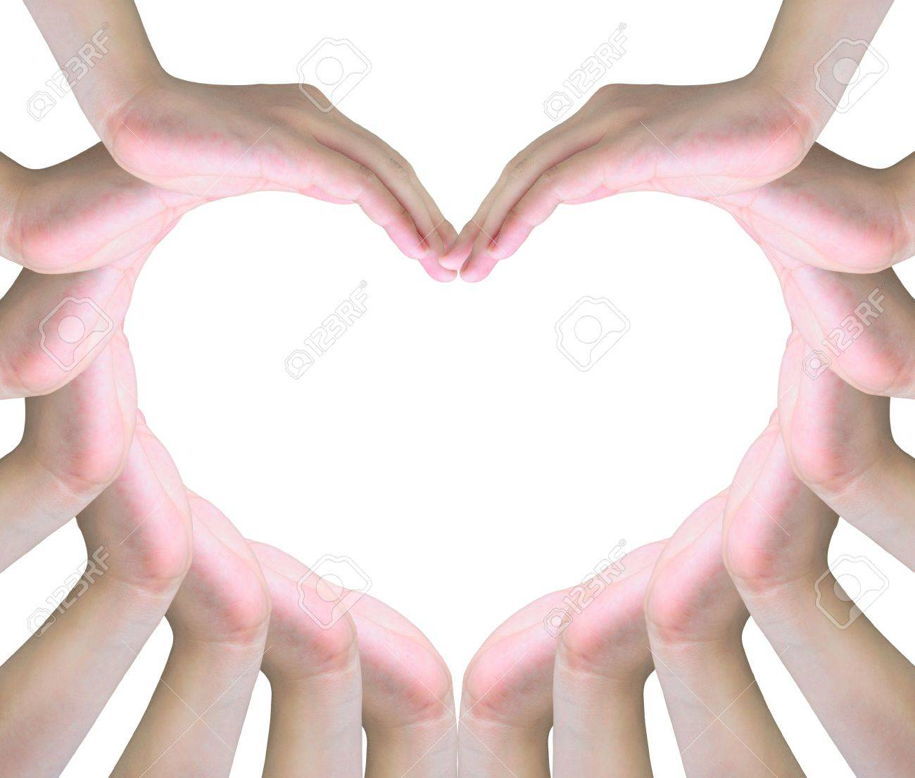 human hands making a symbol of love with copy space Stock Photo - 10273274