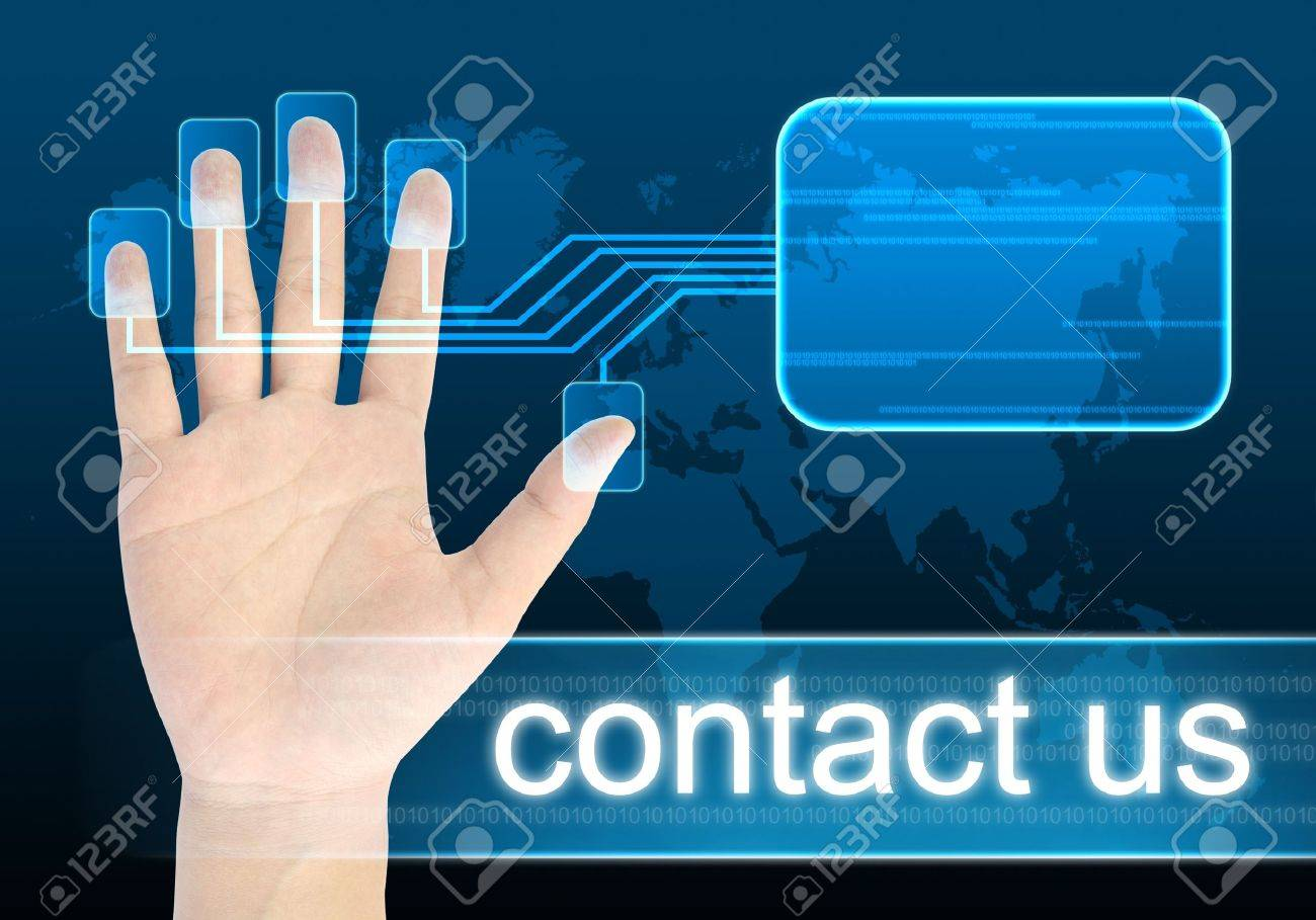 businessman hand pushing contact us button on a touch screen interface Stock Photo - 10361482
