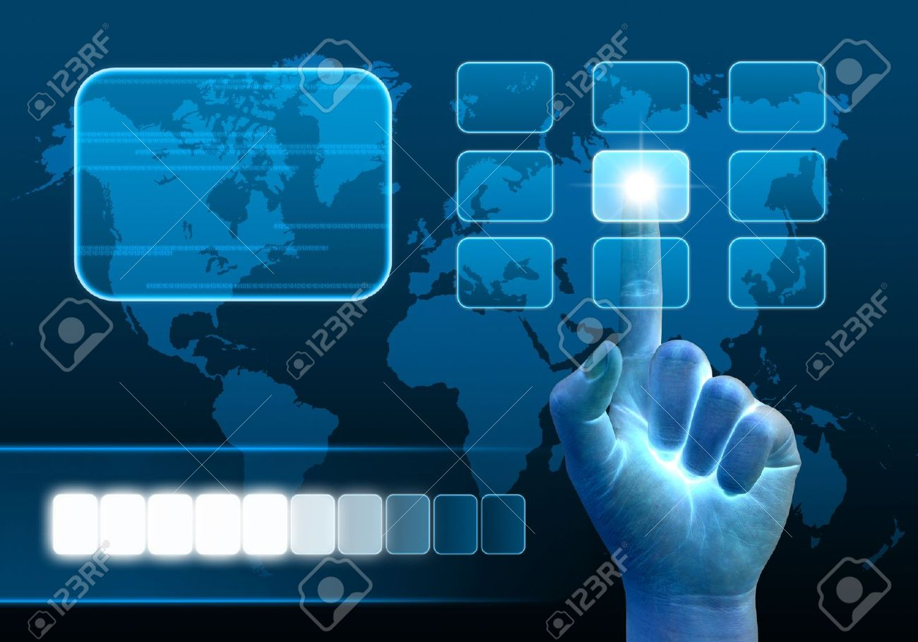 hand pushing a button on a touch screen interface Stock Photo - 10473169