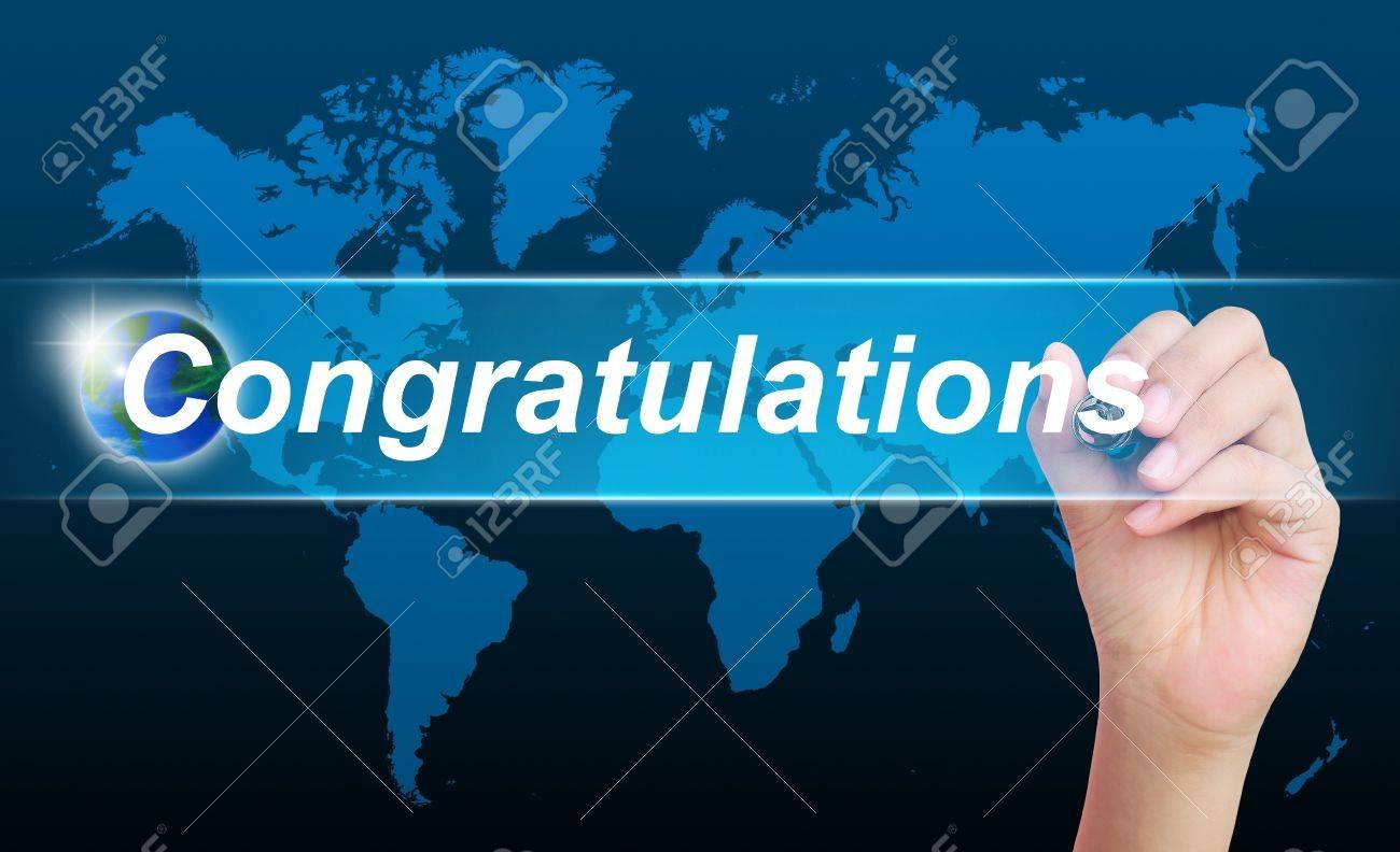 women hand writing congratulations Stock Photo - 11310018
