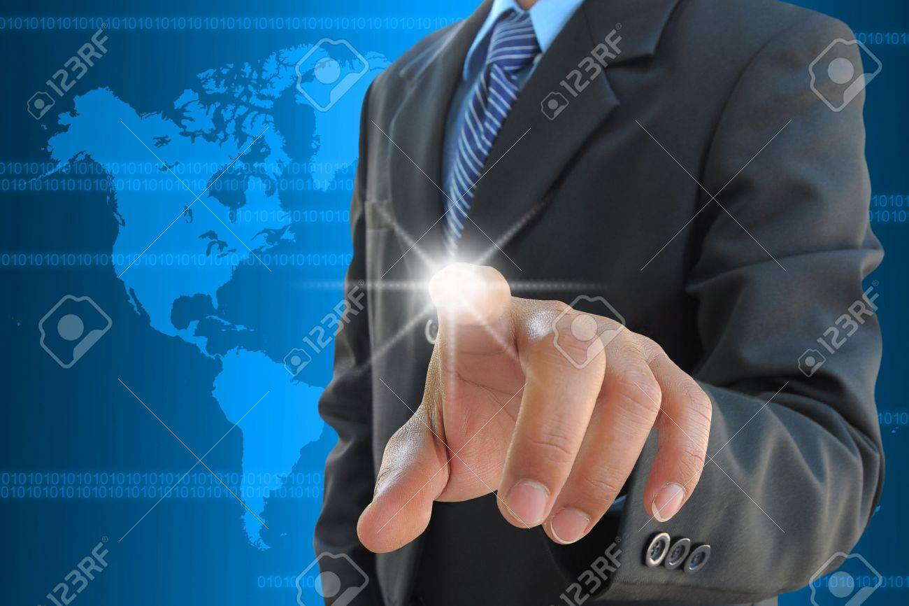 businessman hand pushing a touch screen interface Stock Photo - 11882195