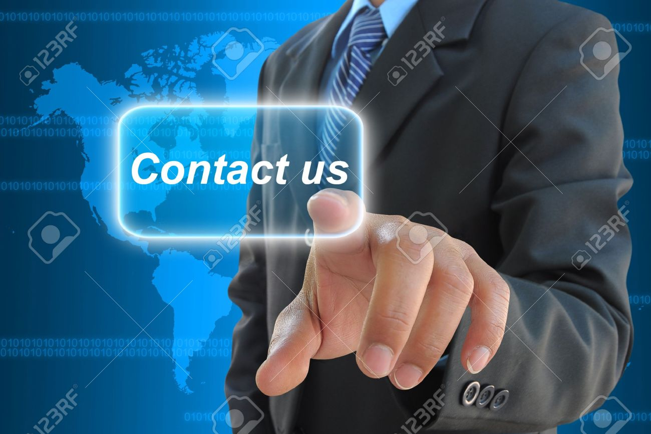 businessman hand pushing contact us button on a touch screen interface Stock Photo - 11882200