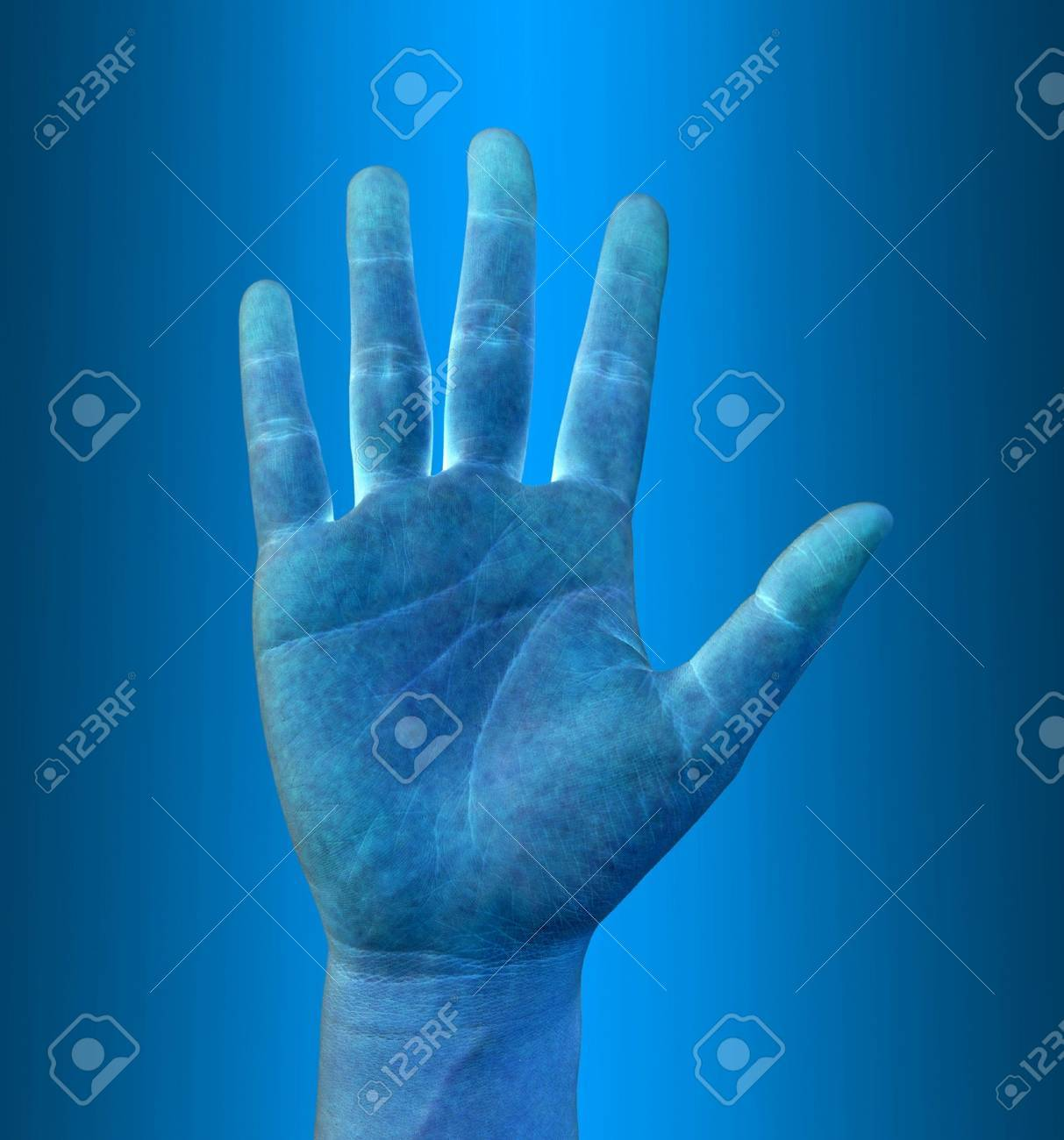 scanning of a hand on a touch screen interface Stock Photo - 12457600