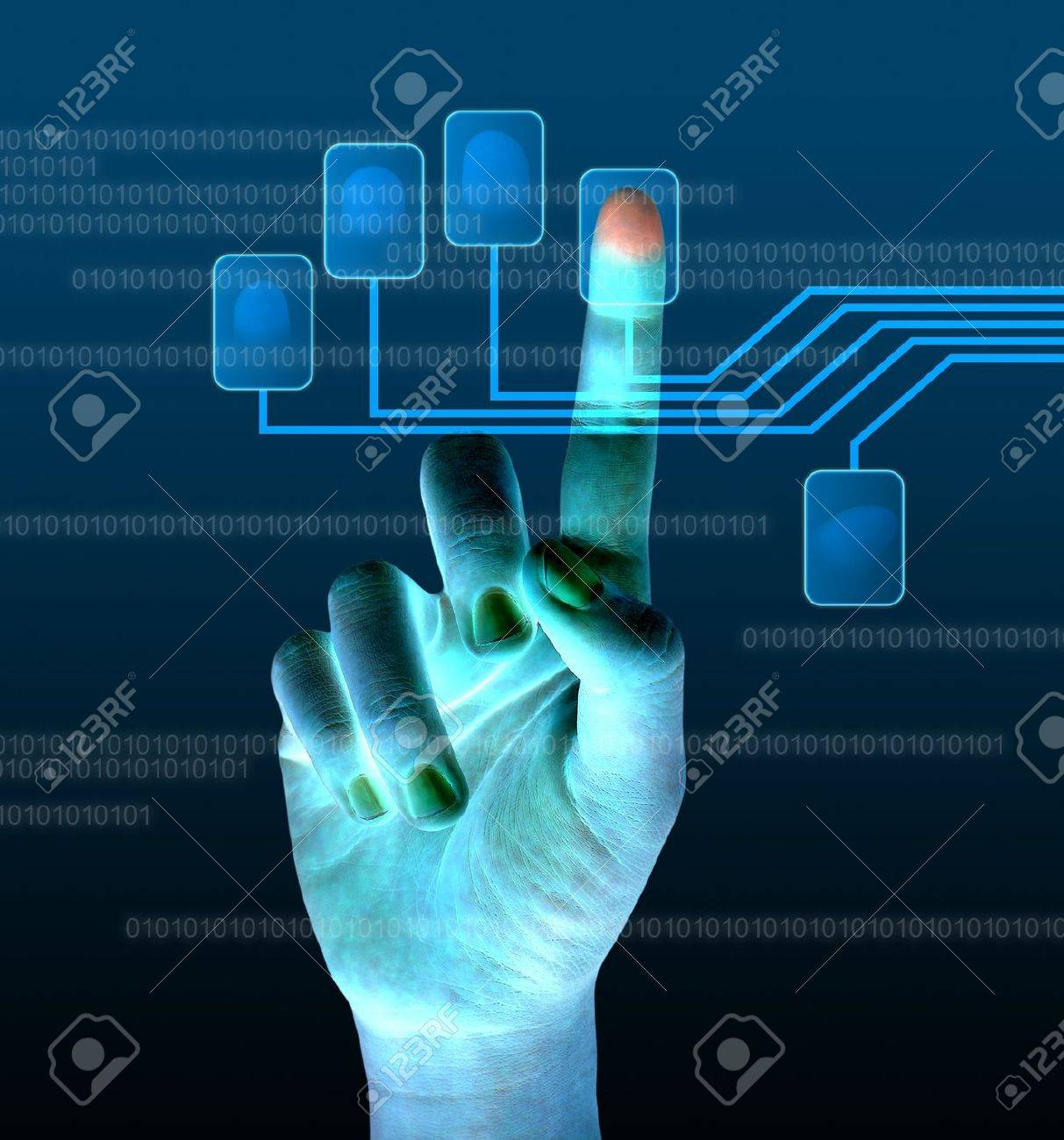 scanning of a finger on a touch screen interface Stock Photo - 12457717