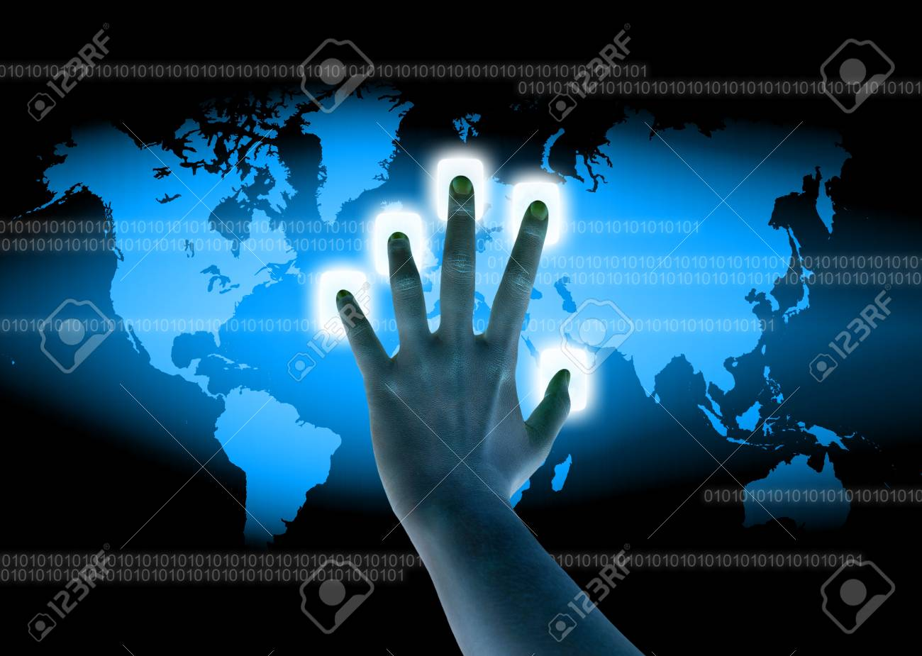 scanning of a finger on a touch screen interface Stock Photo - 12775695