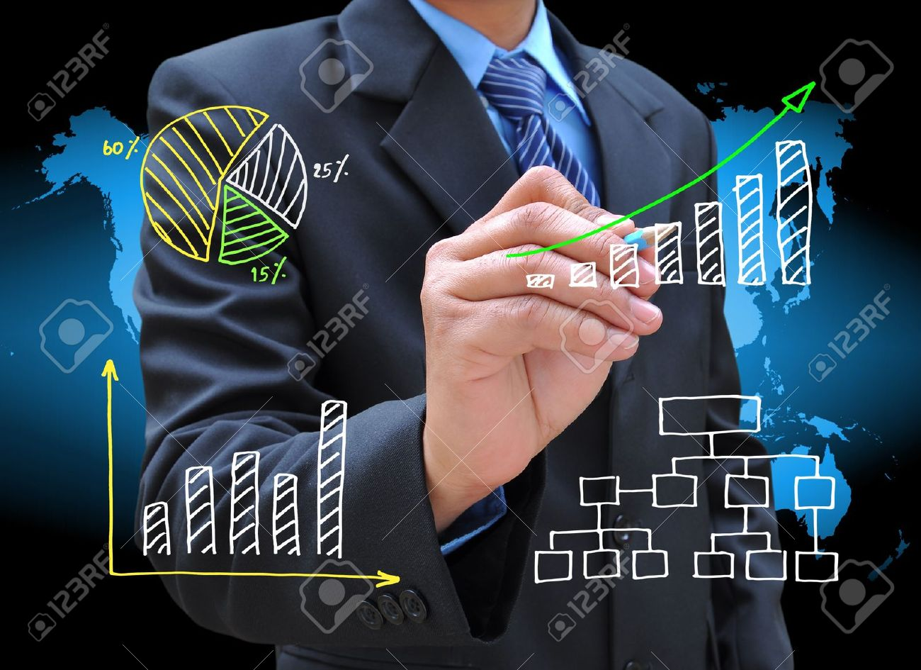 businessman hand drawing business graph Stock Photo - 12920052