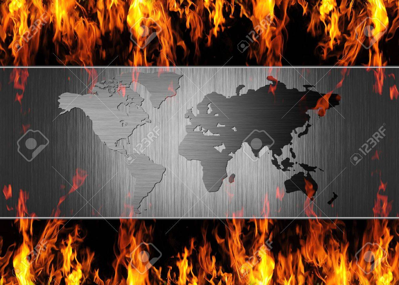 abstract metal world map on fire flame Stock Photo - 13386109