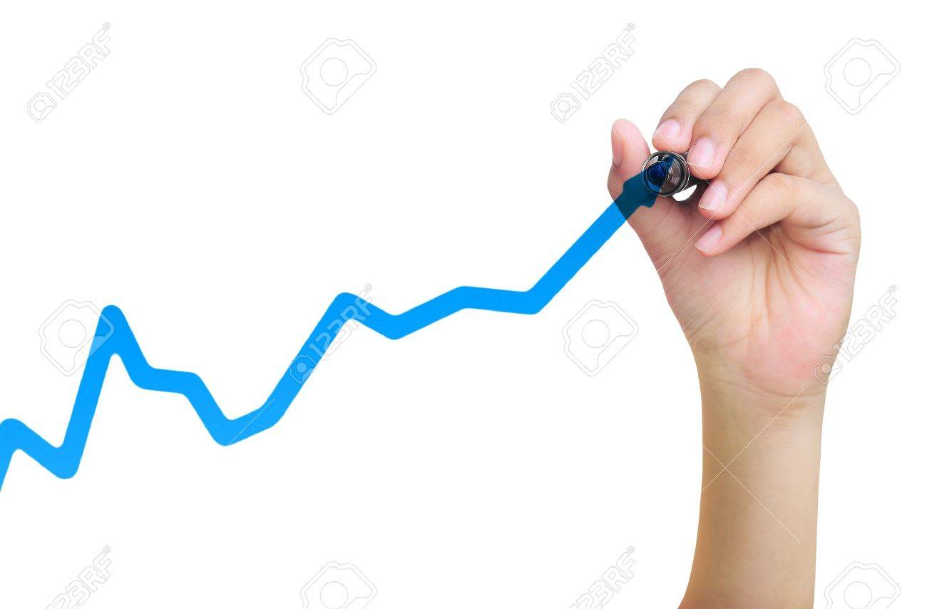 hand drawing business graph - 13513538