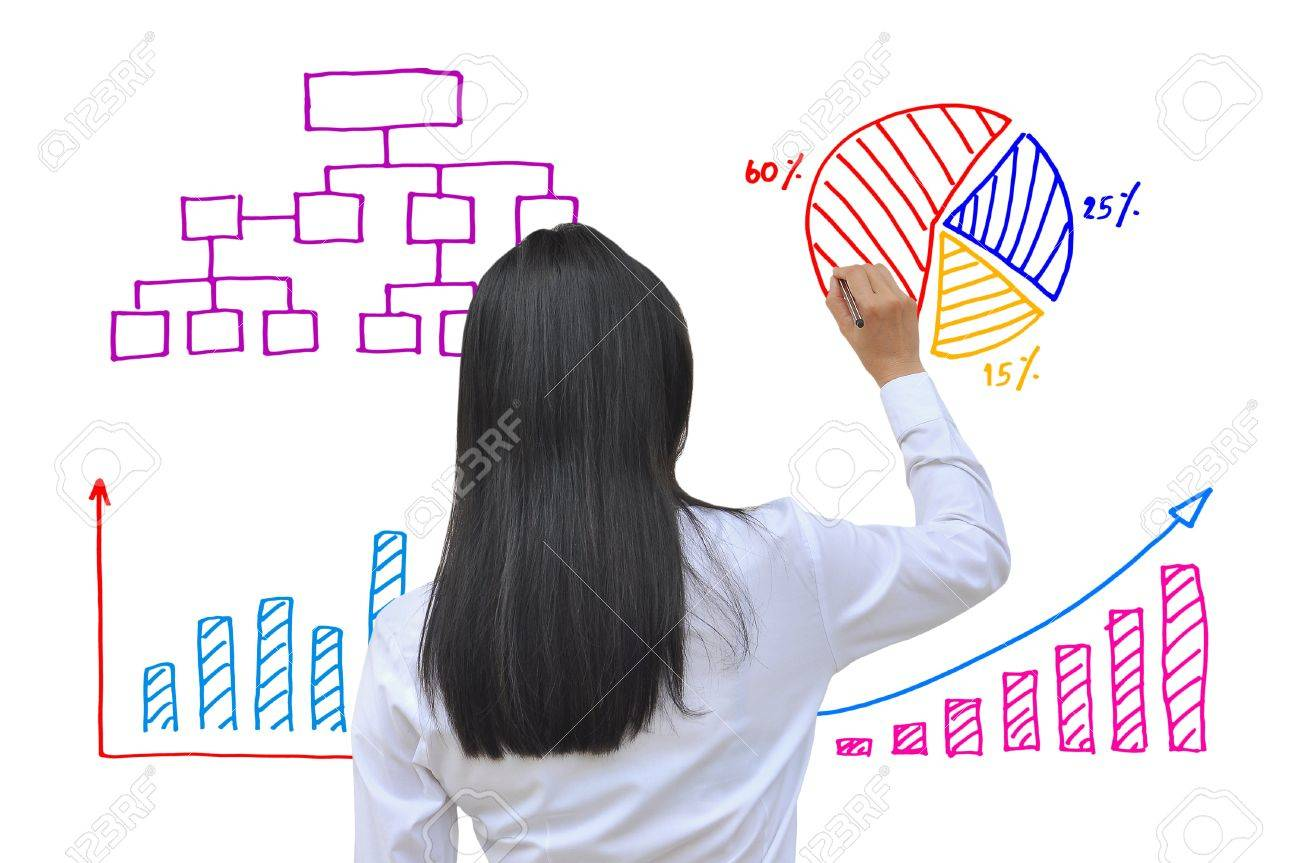 working women hand drawing business graph - 14617531