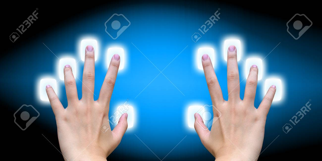 scanning of finger on a touch screen interface Stock Photo - 14957674