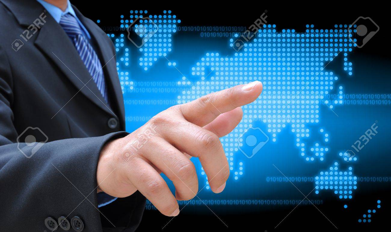 businessman hand holding on technology - 15025027