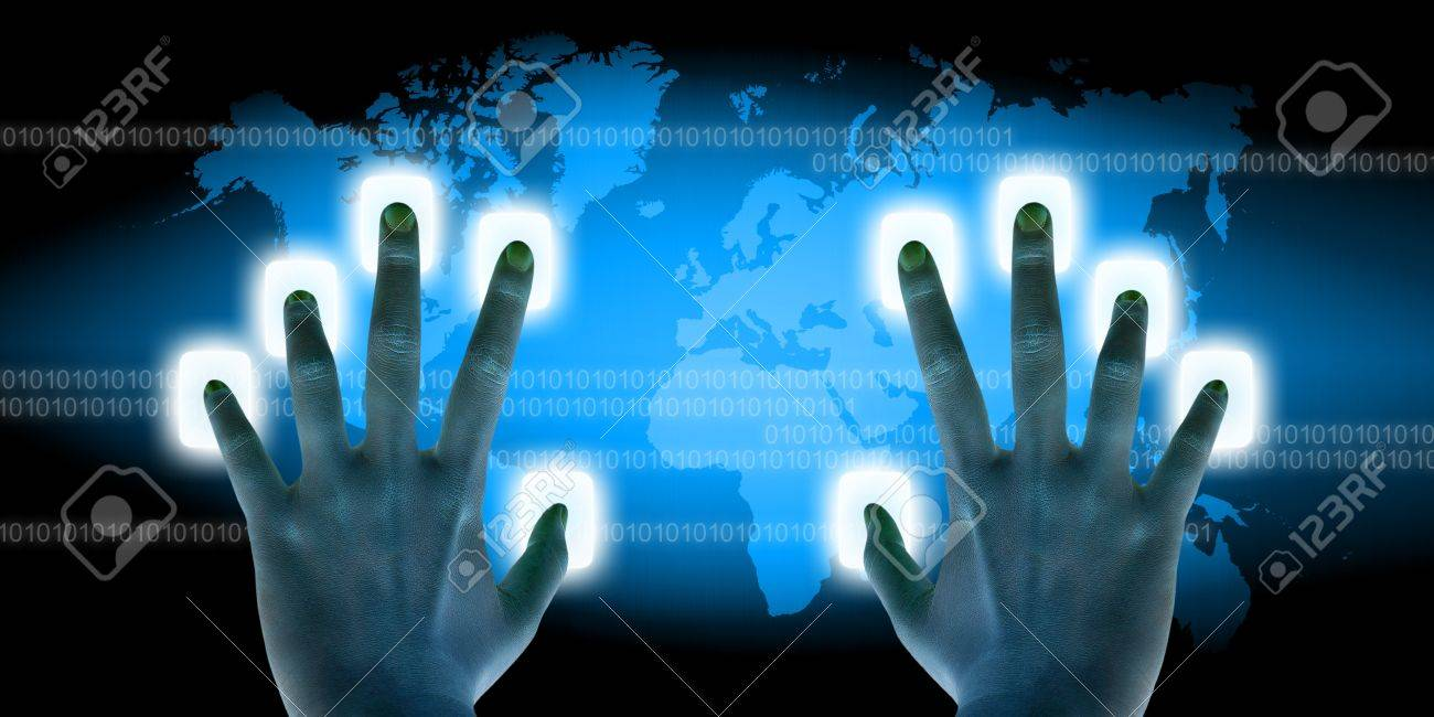 businessman scanning of finger on a touch screen interface - 15087602