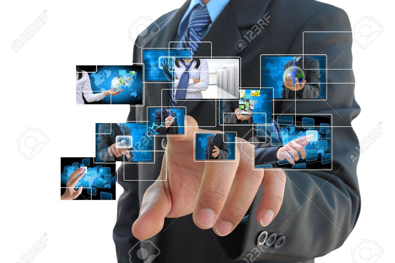 businessman hand pushing button on a touch screen interface - 15087642