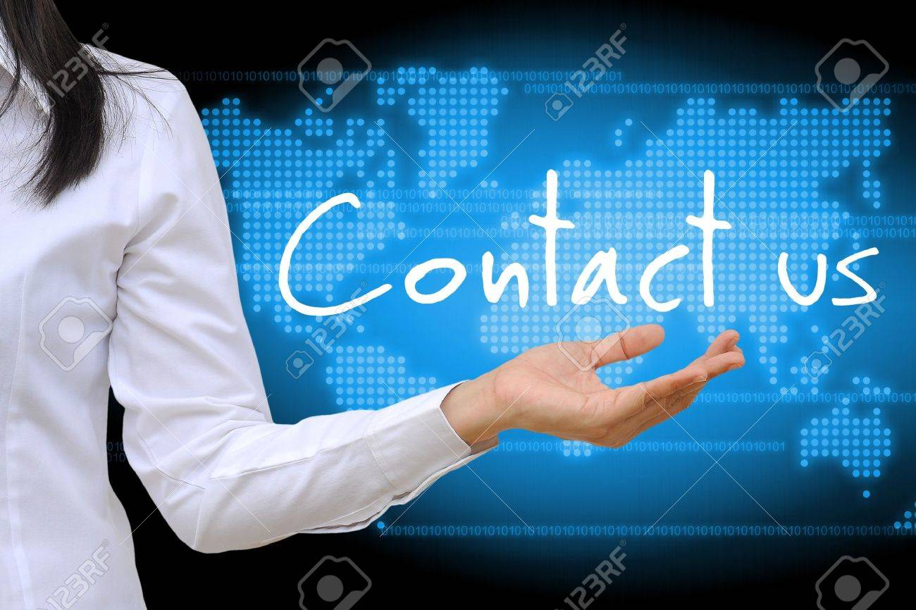 working women hand holding contact us - 16103935