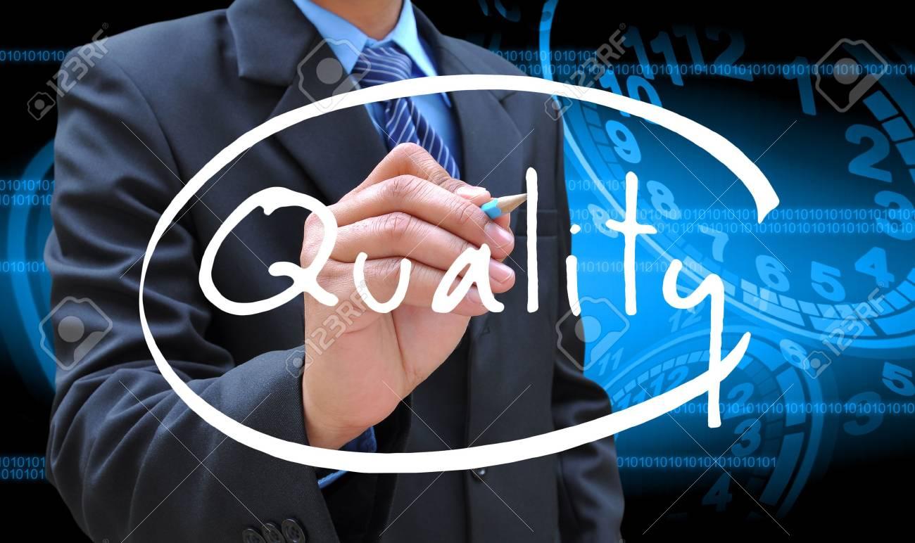 businessman hand writing quality - 17125261