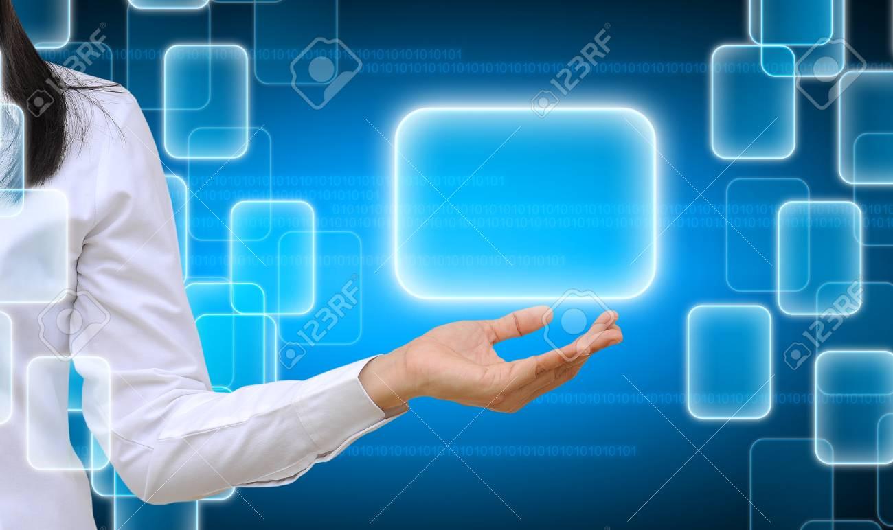 hand holding on technology background Stock Photo - 17766508