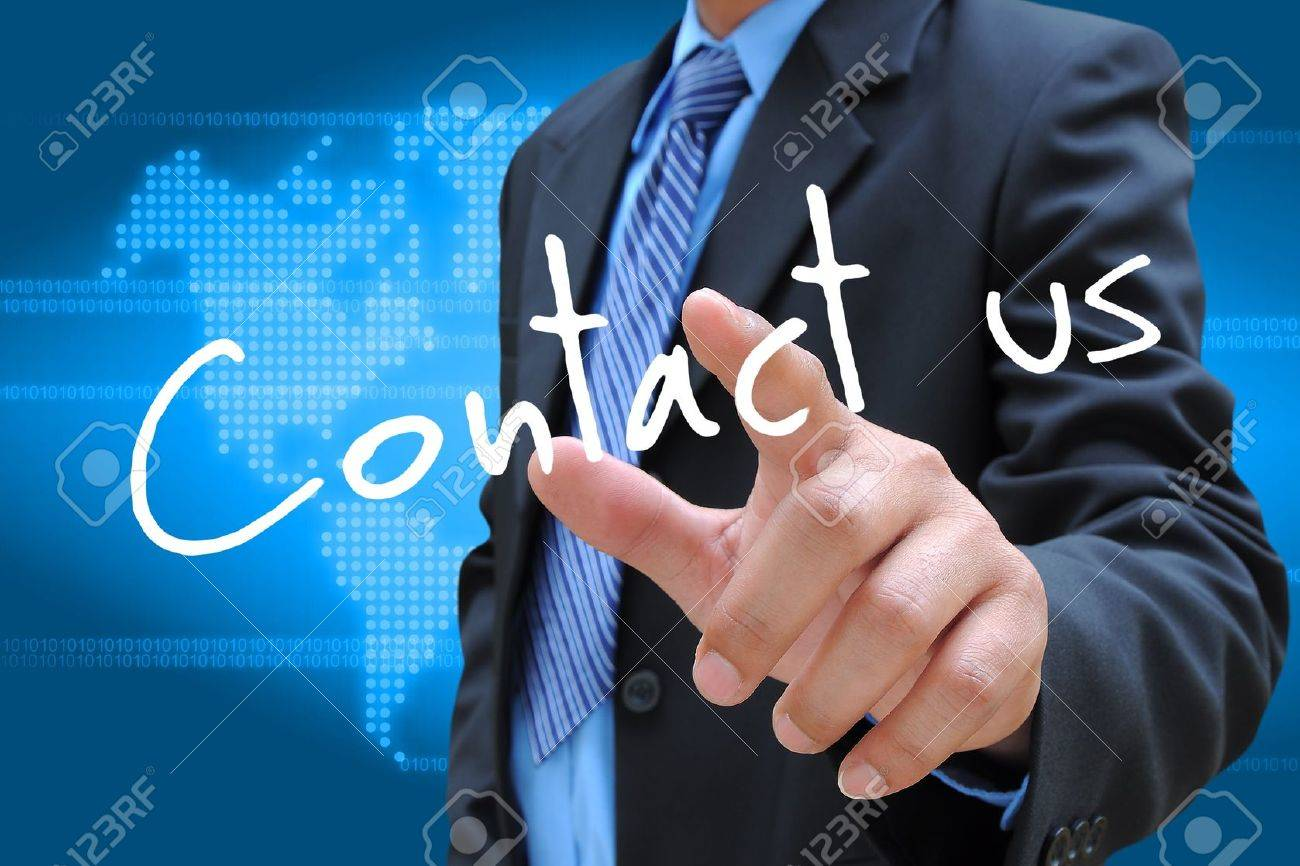 businessman hand pushing contact us button on a touch screen interface - 21992028