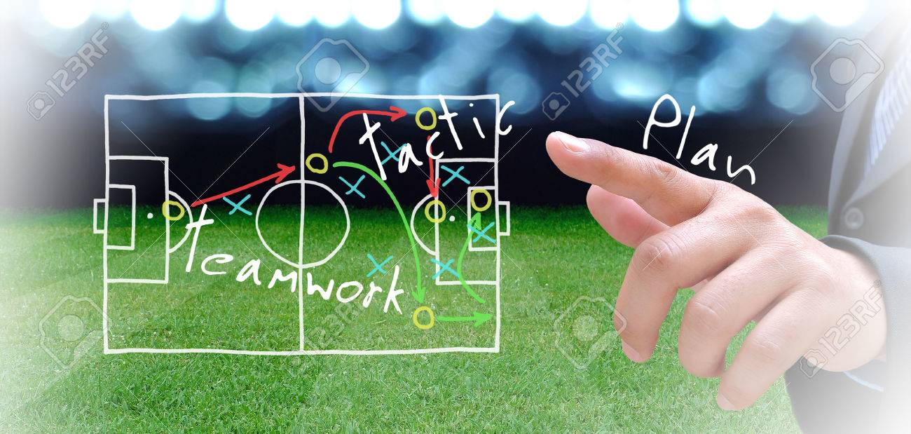 plan of soccer manager at soccer field - 33037235