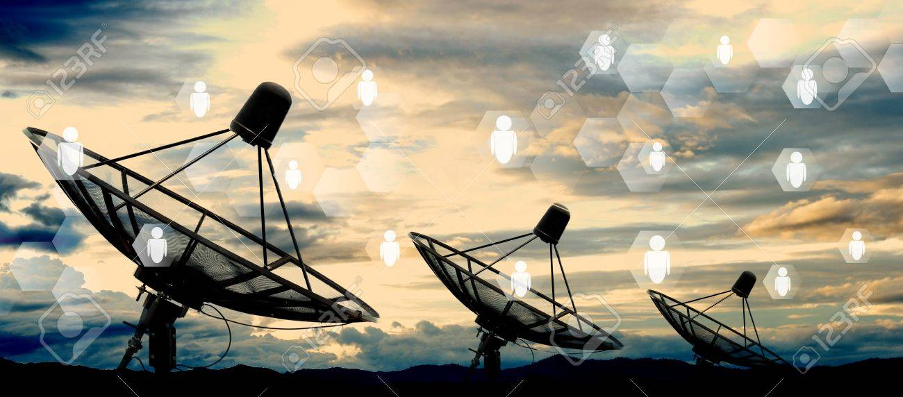 satellite dish antennas on sky and social network - 33960610