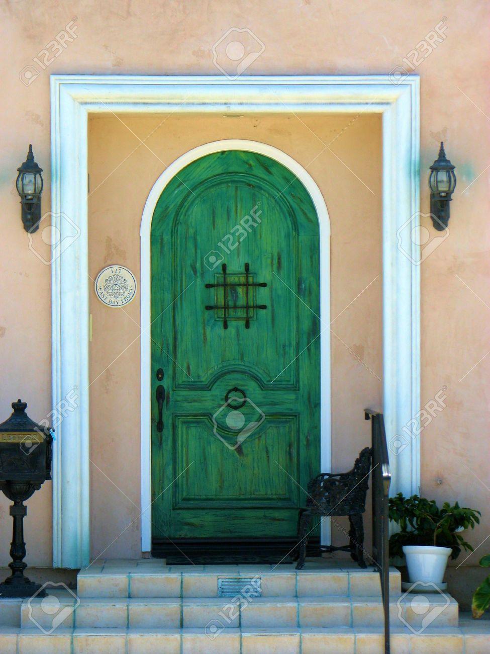 Green Door Arch Entry Entrance Front Door Square Steps Stoop Stock