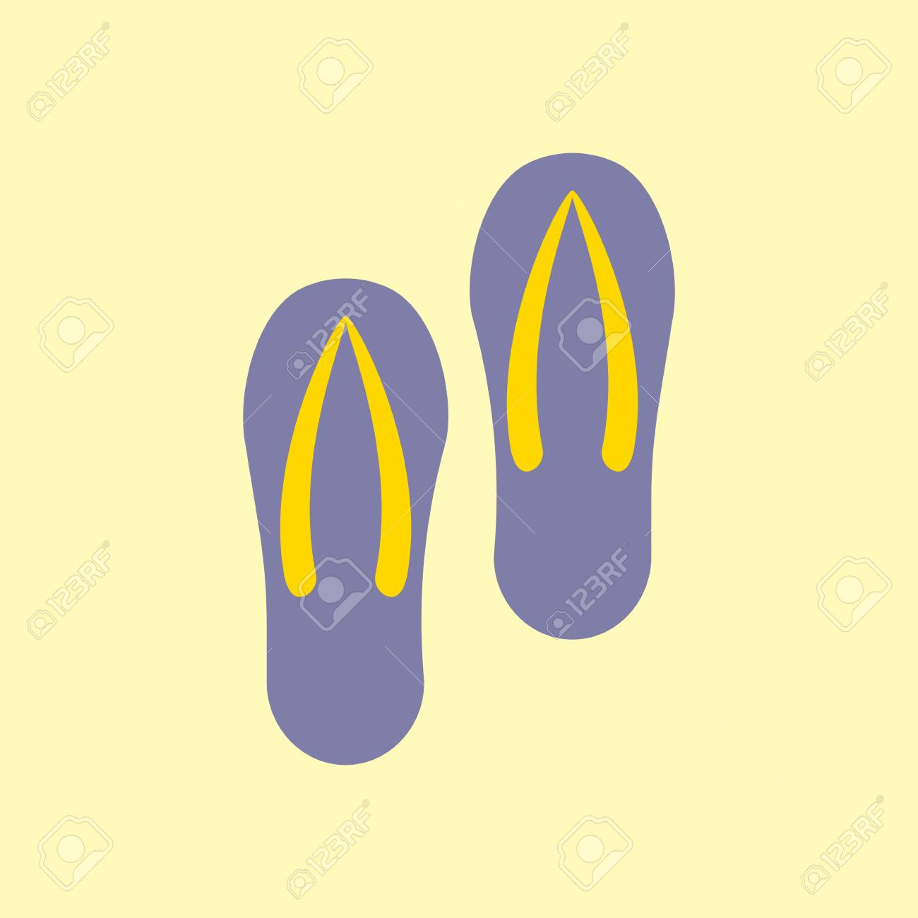 b66de91657eb4 Pair of flip-flops isolated on a yellow background. Vector illustration. Stock  Vector
