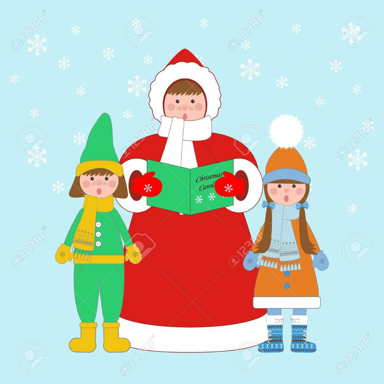 Weihnachtslieder Sänger Auf Dem Blauen Hintergrund. Vektor ...