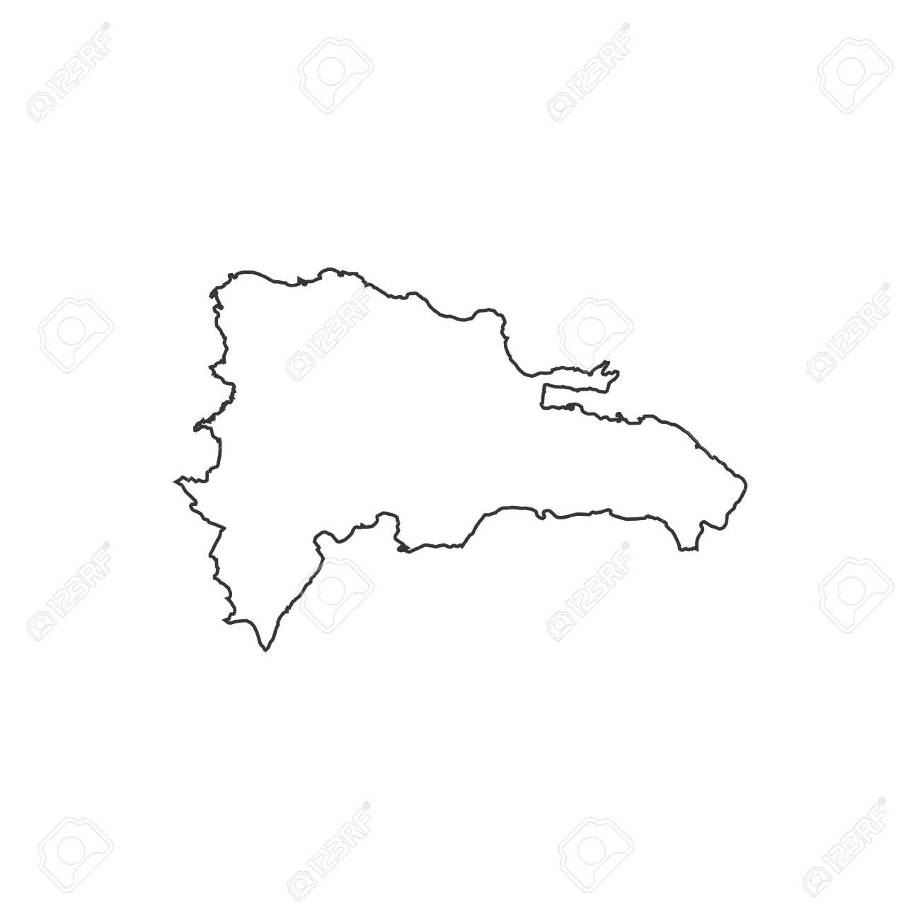 Mapa De Republica Dominicana En Blanco.Ilustracion De La Silueta Del Mapa De La Republica Dominicana En El Fondo Blanco Ilustracion Vectorial