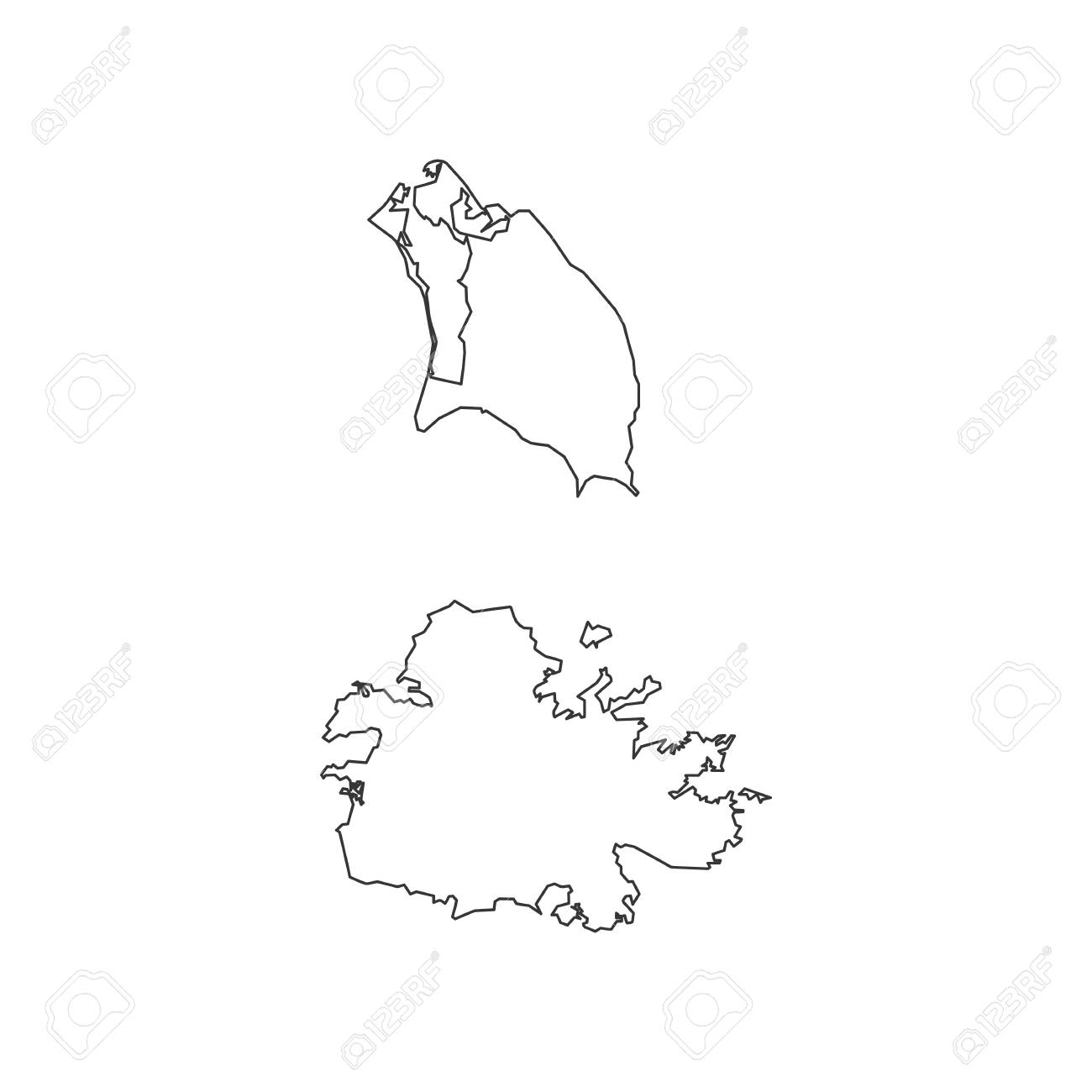 Antigua and Barbuda map on the white background. Vector illustration