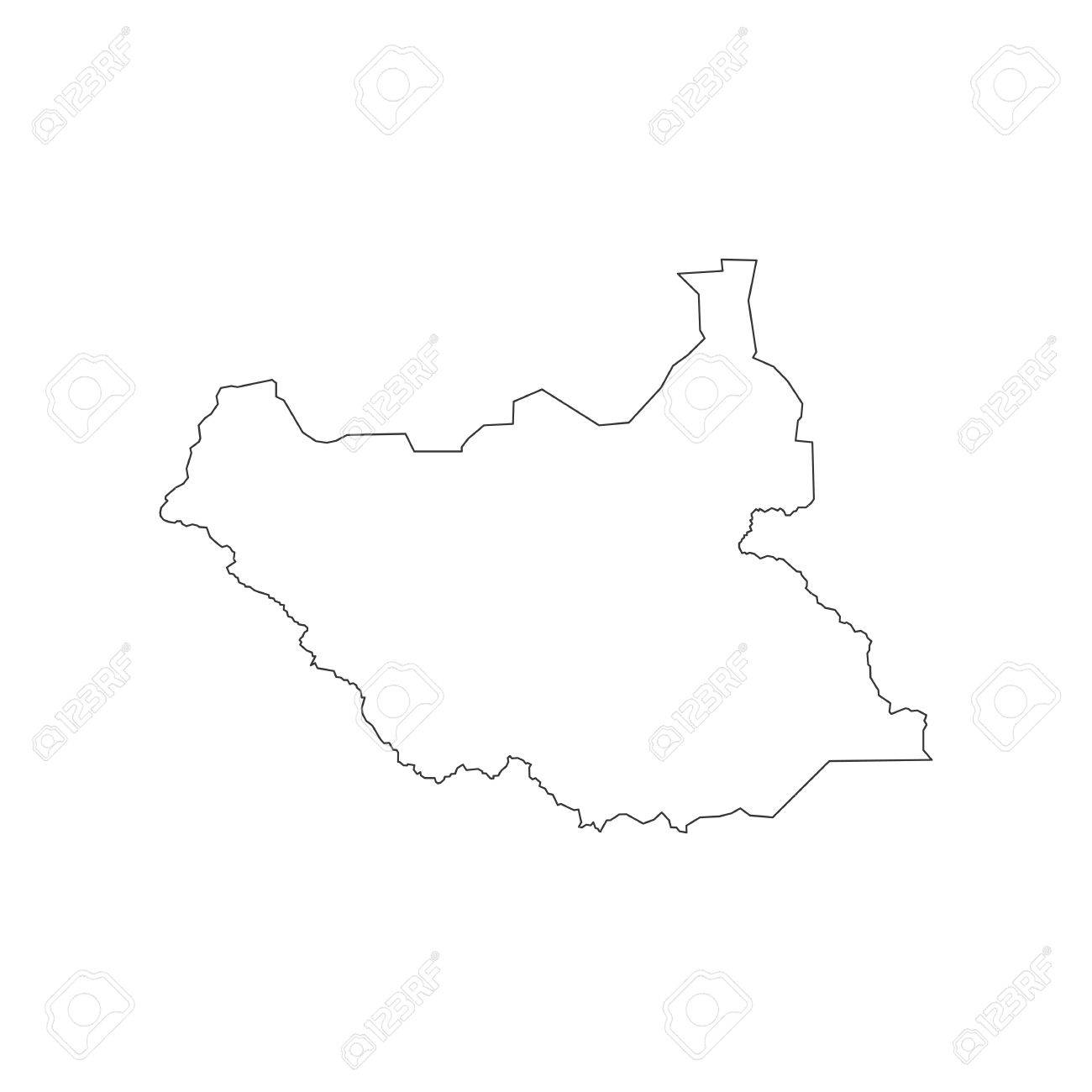 South Sudan Map Outline On The White Background Vector - south map outline